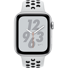 Apple Watch Series 4 Nike+ Aluminium-44 mm, Armband-Nike Sport-Pure Platinum/Schwarz, GPS und Cellular Silber Katalog