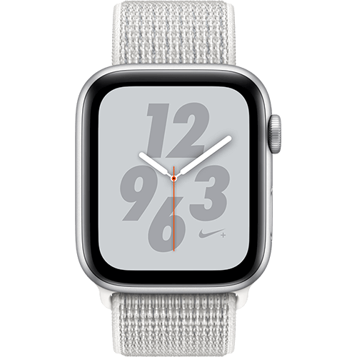 Apple Watch Series 4 Nike+ Aluminium-44 mm, Armband-Nike Sport Loop-Summit White, GPS und Cellular Silber Vorne und Hinten