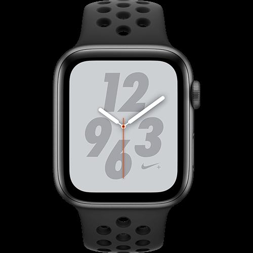 Apple Watch Series 4 Nike+ Aluminium-44 mm, Armband-Nike Sport-Anthrazit/Schwarz , GPS und Cellular Space Grau Vorne und Hinten