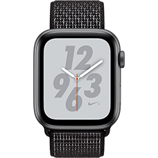 Apple Watch Series 4 Nike+ Aluminium-44 mm, Armband-Nike Sport Loop-Schwarz, GPS und Cellular Space Grau Katalog