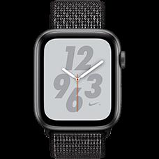 Apple Watch Series 4 Nike+ Aluminium-44 mm, Armband-Nike Sport Loop-Schwarz, GPS und Cellular Space Grau Katalog