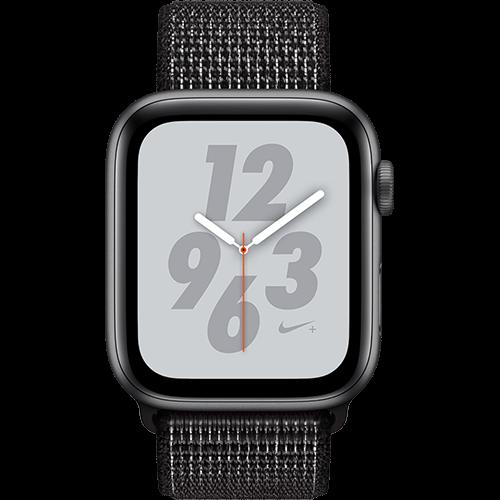 Apple Watch Series 4 Nike+ Aluminium-44 mm, Armband-Nike Sport Loop-Schwarz, GPS und Cellular Space Grau Vorne und Hinten
