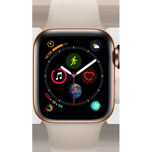 Apple Watch Series 4 Edelstahl-40 mm, Armband-Sport-Stein, GPS und Cellular Gold Vorne und Hinten