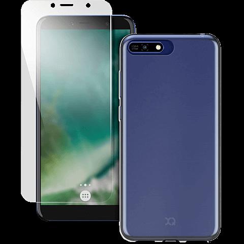 xqisit Flex Case + Safety Glas HUAWEI Y6 (2018) - Transparent 99928377 vorne