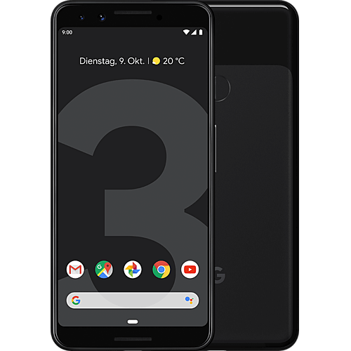 Google Pixel 3 Just Black Vorne und Hinten