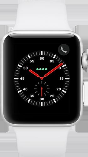Apple Watch Series 3 Aluminium-42 mm, Armband-Sport-Weiß, GPS und Cellular Silber Vorne und Hinten