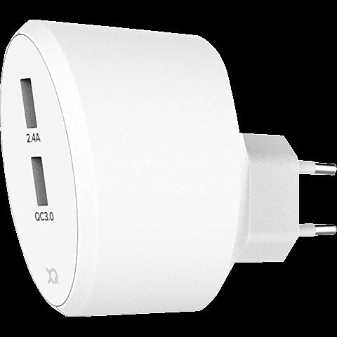 xqisit Schnelllader 5,4A Dual USB+Qualcomm QC3.0 99928169 vorne