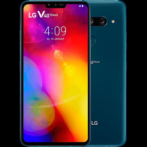 LG V40 ThinQ New Moroccan Blue Vorne und Hinten