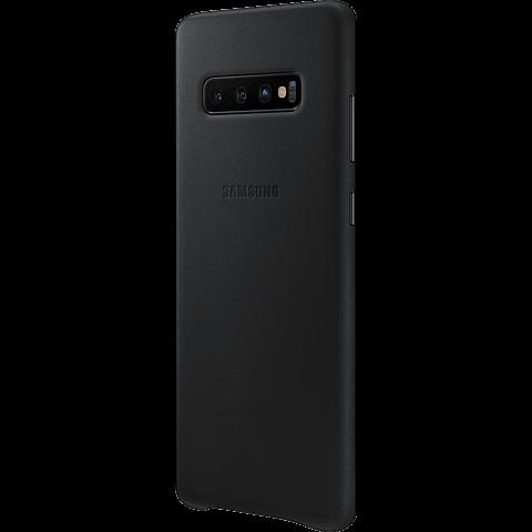 Samsung Leder Cover Galaxy S10+ - Schwarz 99928910 seitlich