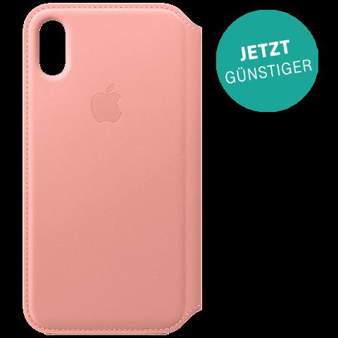 Apple Leder Folio Case iPhone X Zartrosa 99927864 vorne aktion