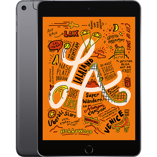Apple iPad mini WiFi und Cellular Space Grau Vorne und Hinten