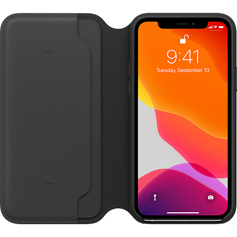 Apple Leder Folio Case iPhone 11 Pro - Schwarz 99929809 hinten