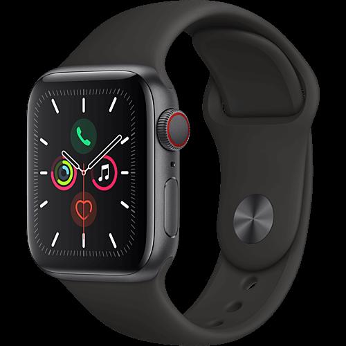 Apple Watch Series 5 Aluminium Space Grau Vorne und Hinten