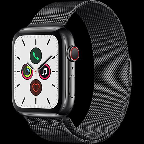 Apple Watch Series 5 Edelstahl Space Schwarz Vorne und Hinten
