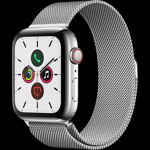 Apple Watch Series 5 Edelstahl Silber Vorne und Hinten