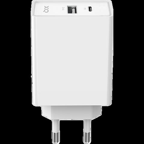 xqisit Ladegerät 5,4A Dual USB-C - USB-A - Weiß 99929860 vorne