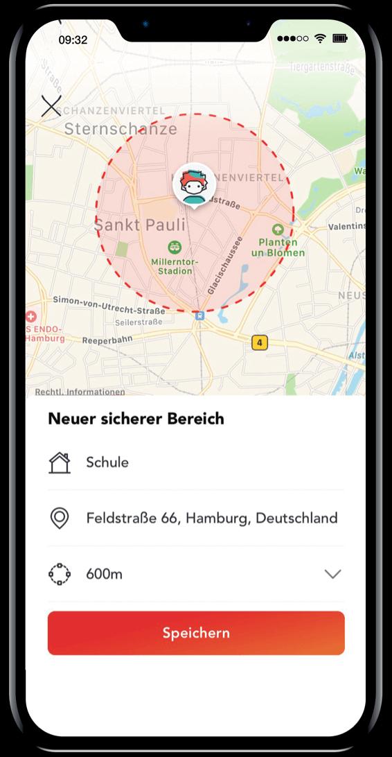 Sichere Bereiche durch GPS-Tracker für Ihr Kind