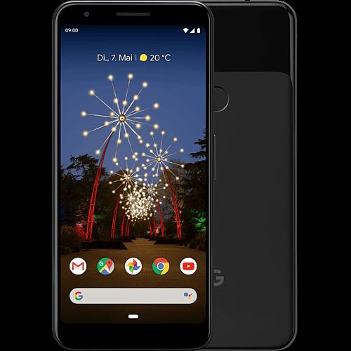 Google Pixel 3a Just Black Vorne und Hinten