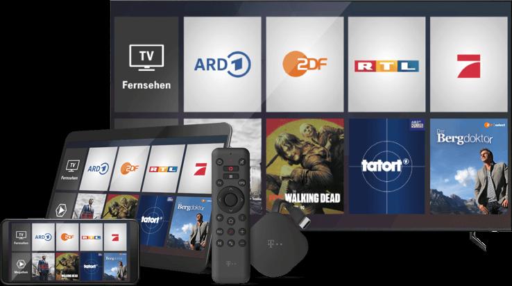 Fernseher mit Smartphone, Tablet und MagentaTV Stick