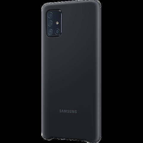 Samsung Silicone Cover Galaxy A71 - Schwarz 99930310 seitlich