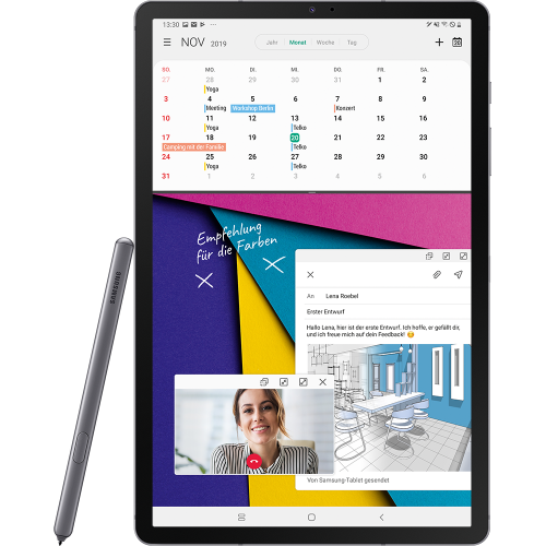 Samsung Galaxy Tab S6 LTE Mountain Grey Vorne mit Stift