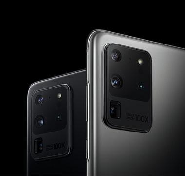 Samsung Galaxy S20 Rückseite schwarz und silber