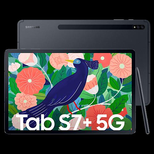 Samsung Galaxy Tab S7+ 5G Mystic Black Vorne und Hinten