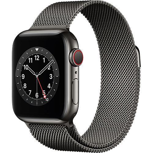 Apple Watch Series 6 Edelstahl Milanaise Graphit Seite