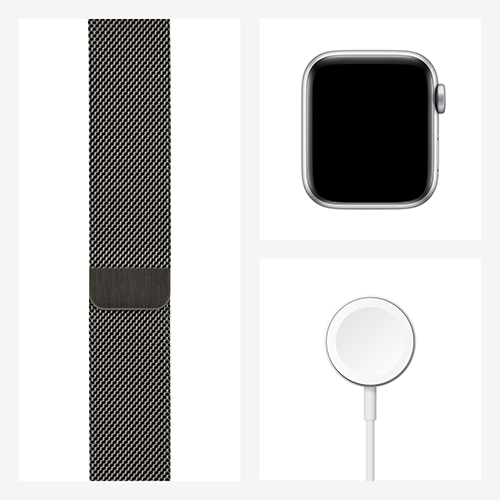 Apple Watch Series 6 Edelstahl Milanaise Graphit Set