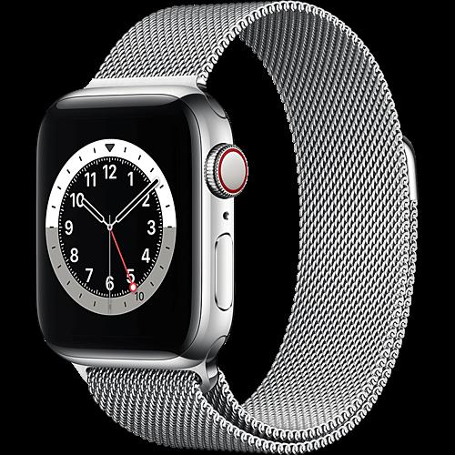 Apple Watch Series 6 Edelstahl Milanaise Silber Seite