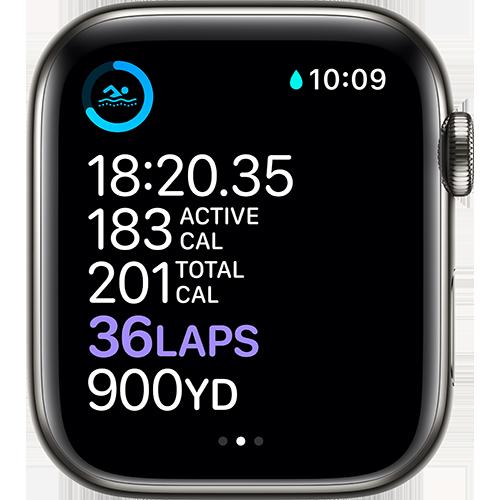 Apple Watch Series 6 Edelstahl Sportarmband Graphit Screen
