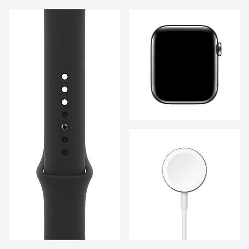 Apple Watch Series 6 Edelstahl Sportarmband Graphit Set