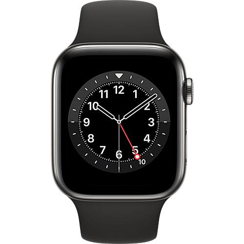 Apple Watch Series 6 Edelstahl Sportarmband Graphit Vorne
