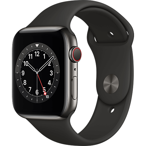 Apple Watch Series 6 Edelstahl Sportarmband Graphit Seite