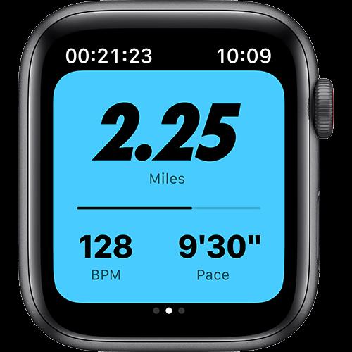 Apple Watch Nike SE Aluminium Sportarmband Space Grau Screen