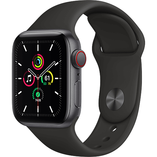 Apple Watch SE Aluminium Sportarmband Space Grau Seite