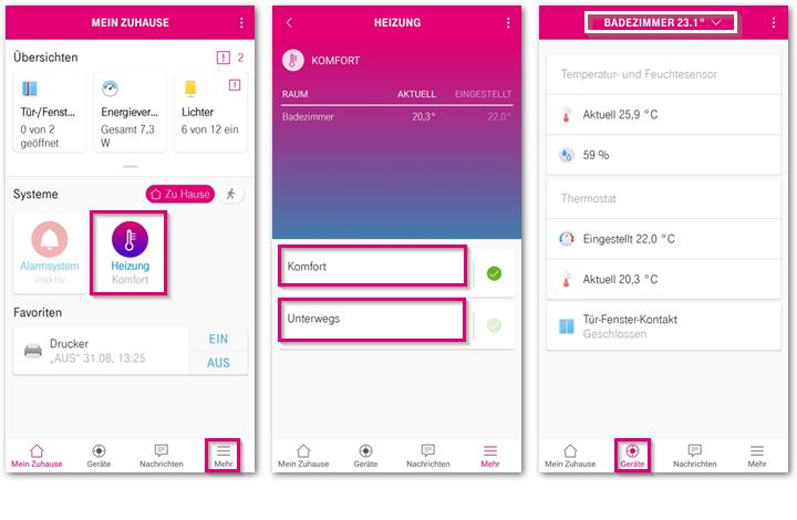 Magenta SmartHome App Heizungssteuerung
