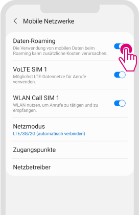 Daten-Roaming für Android aktivieren - Schritt 3