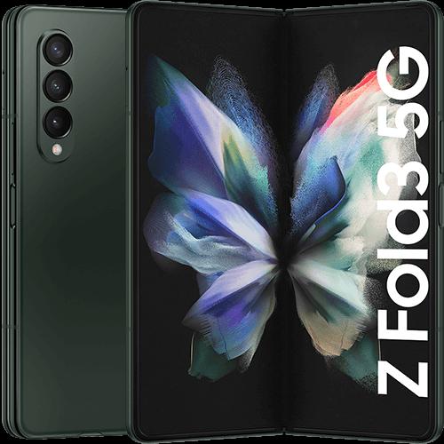 Samsung Galaxy Z Fold3 5G Phantom Green Vorne und Hinten