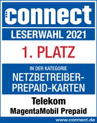 Auszeichnung Connect Leserwahl 2020: Telekom belegt 1. Platz in der Kategorie Netbetreiber-Prepaid-Karten